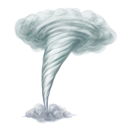 twister: Cartoon style hand drawn vector tornado isolated on white background