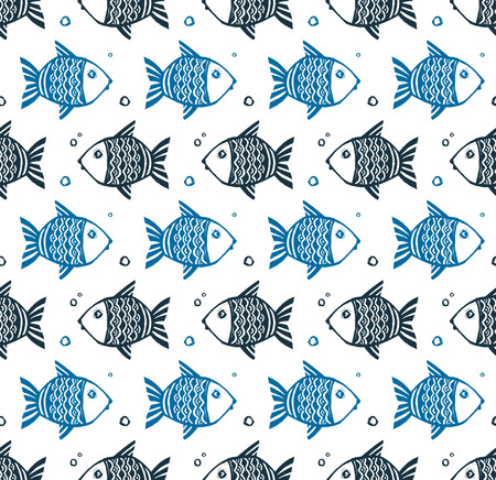 different directions: Blue grunge style fishes floating different directions, vector seamless pattern on white background