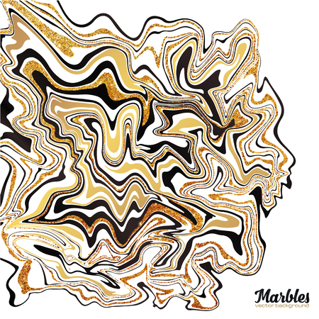 marbled: Black, white and golden glitter marble style abstract vector background