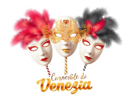 white mask: Vector realistic full face carnival masks with sign Carnevale di Venezia - Venetian Carnival Illustration