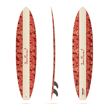 malibu: Vintage style vector realistic mini malibu surfing board isolated on white background Illustration