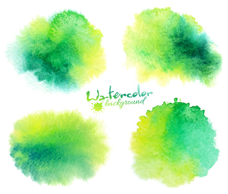 Green watercolor stains vector backgrounds set isolated on white