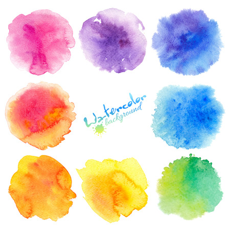 Rainbow colors watercolor paint stains vector backgrounds set