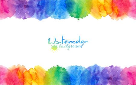 Bright rainbow colors watercolor circles vector frame 일러스트