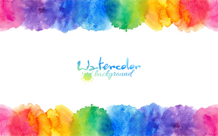 watercolor texture: Bright rainbow colors watercolor circles vector frame Illustration