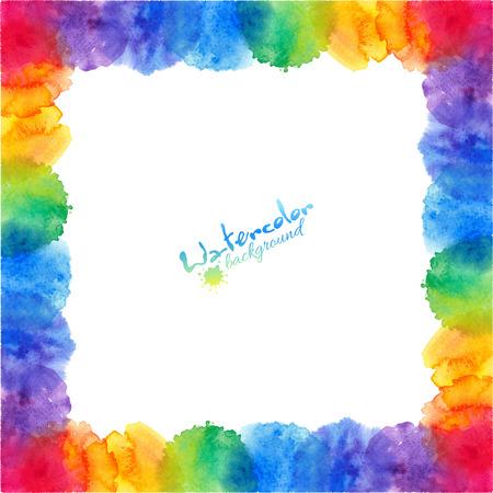 明るい虹色水彩ベクトル フレームを汚れ