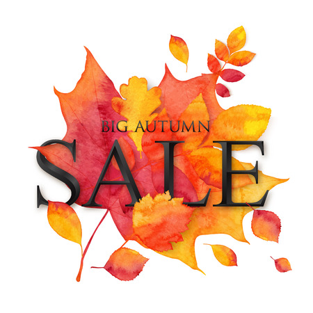 bulk: Vector bulk black SALE sign with shadow on dotted style autumn leaves background Illustration
