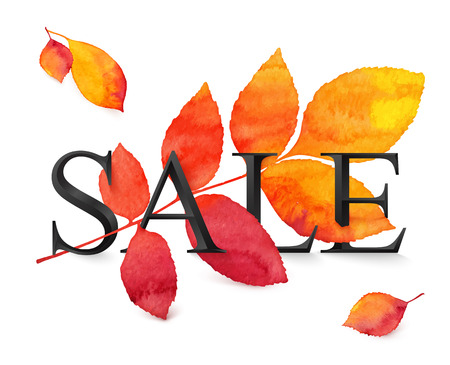 sign orange: Black vector realistic SALE sign with red and orange autumn leaf in grunge watercolor style Illustration