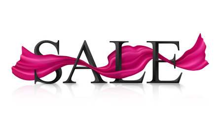 Black vector SALE sign with pink silky ribbon trough it Çizim
