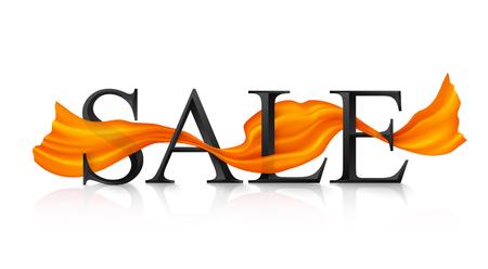 trough: Black vector SALE sign with orange silky ribbon trough it