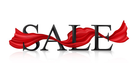 trough: Black vector SALE sign with red silky ribbon trough it