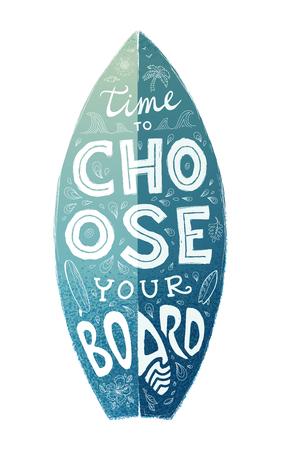 白と青のグランジ サーフィン ボード形状手描き文字 - ボードの選択に時間