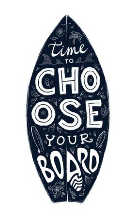 voyage vintage: Noir grunge surf planche forme avec dessinée à la main lettrage - le temps de choisir votre conseil