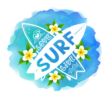 short wave: White vector crossing surfing boards with hand drawn sign Love, Live, SURF on blue watercolor splash and bali flowers background