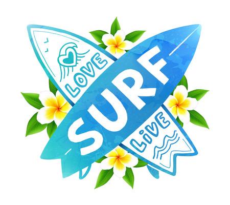 青い水彩色ベクトルのライブ、手描き下ろしサイン愛、サーフィン ボードを横断バリの花の背景にサーフィン