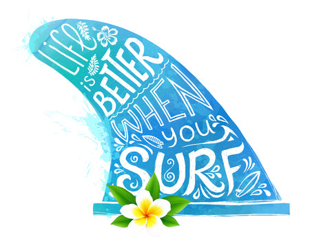 Blue watercolor style vector surfing fin silhouette with white hand drawn lettering and realistic Bali flower isolated on white background Illustration