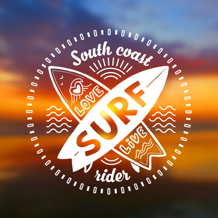 White vector crossing surfing boards stamp with hand drawn sign Love, Live, SURF on blurred sunset beach background Illustration