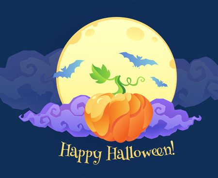 Bright orange pumpkin with violet curly cloud blue bats silhouettes and Happy Halloween sign on yellow moon at dark blue background Illustration