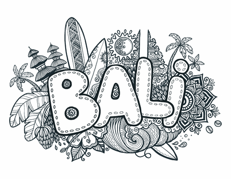 Black vector Bali sign on hand drawn doodle style symbols of Bali island - temples, flowers, palms, waves and surfing boards Illustration