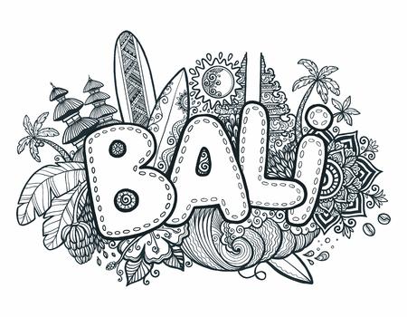 Zwarte vector Bali teken op hand getrokken doodle stijl symbolen van het eiland Bali - tempels, bloemen, palmen, golven en surfplanken