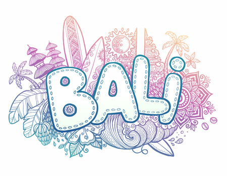 indonesia: Blue and pink colors vector Bali sign on hand drawn doodle style symbols of Bali island - temples, flowers, palms, waves and surfing boards Illustration