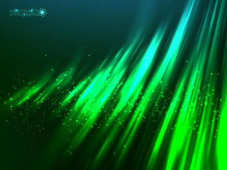 polar light: Green aurora polar light vector abstract cosmic background
