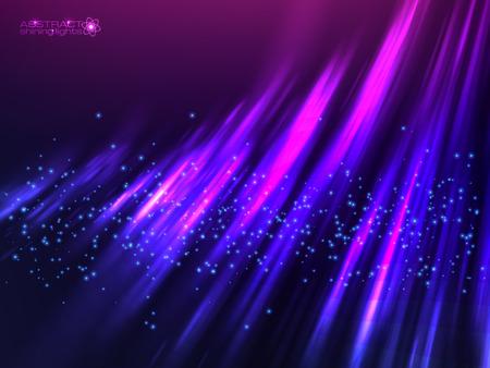 hight tech: Violet aurora polar light vector abstract cosmic background Illustration