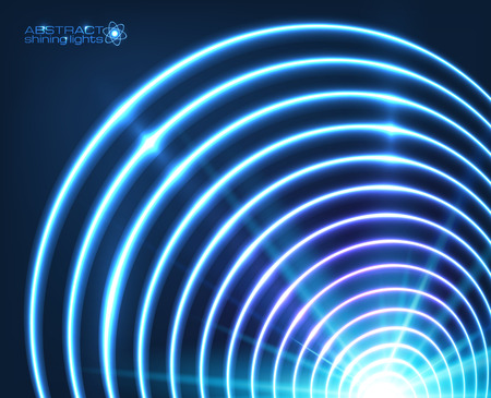 abstract swirl: Blue vector shining concentric circles abstract cosmic background