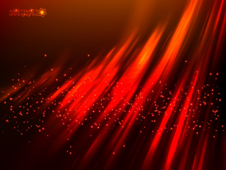 aurora: Red aurora polar light vector abstract cosmic background