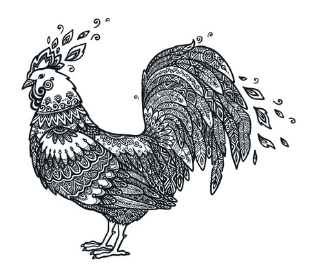 Black hand drawn cock on white background. Doodle vector Rooster - Chinese New Year rooster symbol.