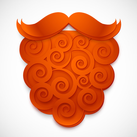 fake mustaches: Red curly paper vector fake beard with mustaches isolated on white background