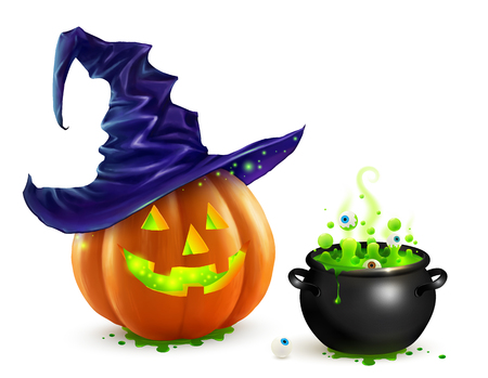 Realistic vector Halloween pumpkin in violet witchs hat and black witchs cauldron with green brew with eyes. Happy face Halloween pumpkin and cauldron isolated on white background.