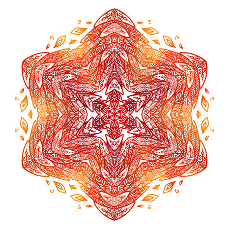 fiery: Fiery red and orange doodle style feathers abstract vector mandala