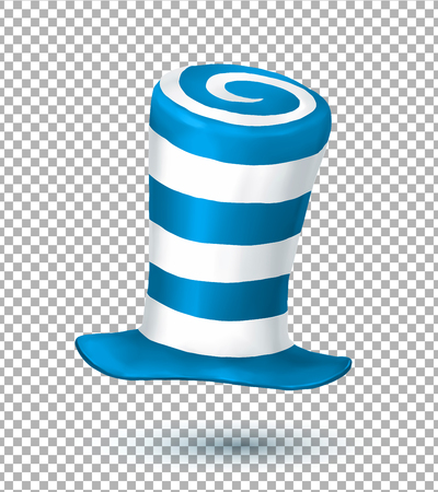 mad: Blue and white colors striped realistic crazy carnival hat isolated on transparency grid background