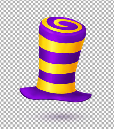 mad: Violet and yellow colors striped realistic crazy carnival hat