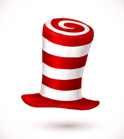 Red and white colors stripes realistic  crazy carnival hat Illustration