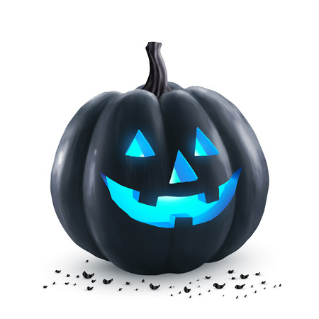 holiday symbol: Black Halloween pumpkin with blue neon light inside - holiday symbol isolated on white background Illustration
