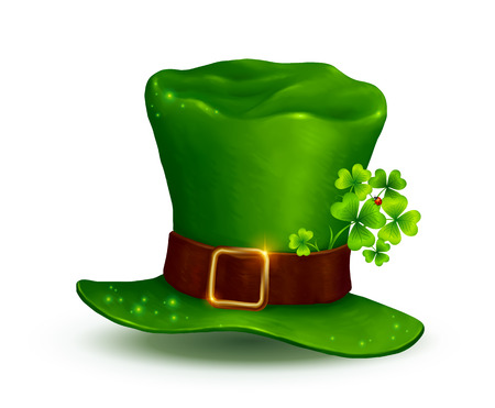 leprechauns hat: Realistic Leprechauns green hat isolated on white background