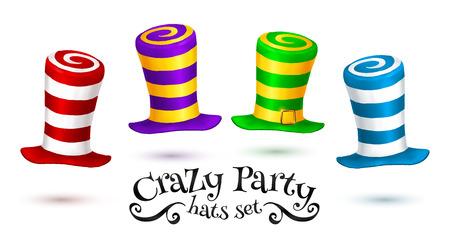 Pazzo partito cappelli di carnevale colorato a strisce insieme isolato su sfondo bianco