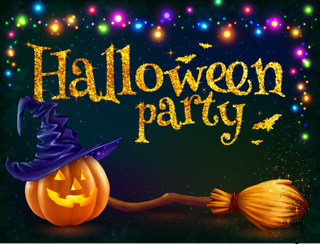 halloween pumpkin: Halloween pumpkin and witchs broom on dark background with colorful lamps garland, Halloween party template