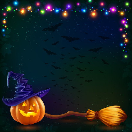 Vector Halloween pumpkin and witchs broom on dark background with colorful lamps garland Illustration