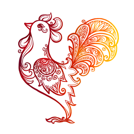 Red fiery colors  ornate rooster - Chinese symbol of 2017 new year