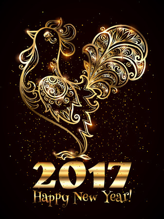 happy new years: Golden  ornate rooster silhouette with Happy New Year sign and gold confetti - Chinese symbol of 2017 new year