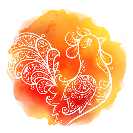 fiery: White  doodle rooster on red fiery colors watercolor stain background