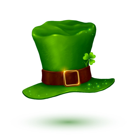 gold buckle: Green soft leprechaun hat in cartoon style isolated on white background