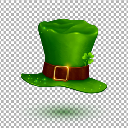 Sombrero de duende verde suave en el estilo de dibujos animados aislado en el fondo de la cuadrícula de transparencia