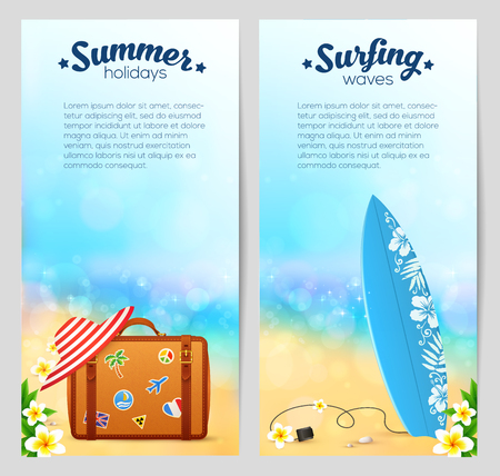 sandy beach: Summer travel banners set with travelers suitcase, red striped hat and surfing board on sandy beach background with Bali flowers frame