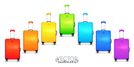 Rainbow colors travelers suitcases on wheels set