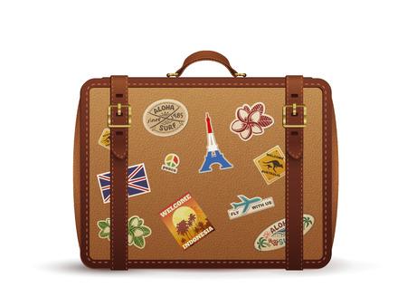 valigia: Vecchia valigia in pelle vintage con adesivi di viaggio, illustrazione isolato su bianco