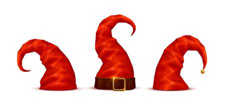 Long red dwarfs isolated hats vector set in cartoon style Illustration
